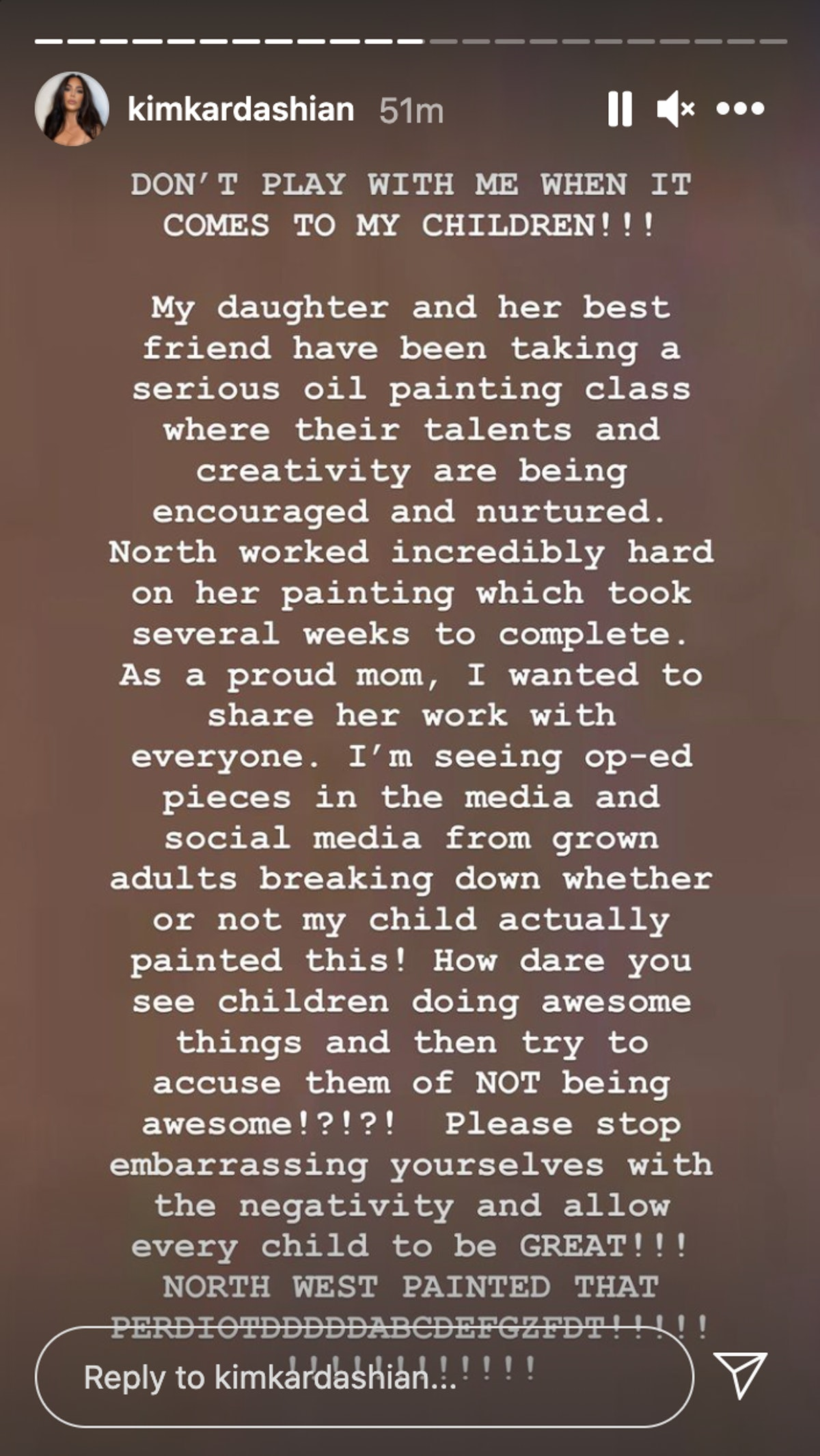kim kardashian instagram story screenshot