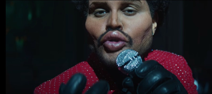 The Weeknd's face with extreme plastic surgery.