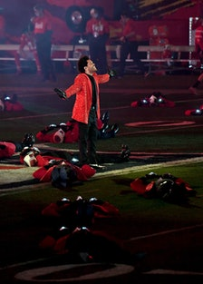 The Weeknd living it up at the Super Bowl