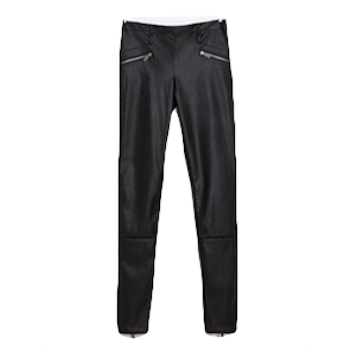 Leather Leggings With Zips