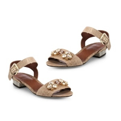 Jeweled Raffia Sandals