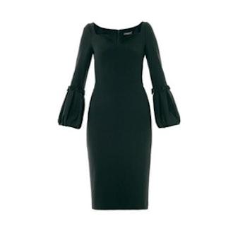 Pleated Crepe Dress