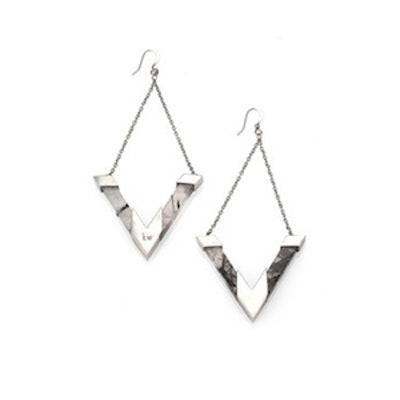 Quartz Earrings in White Rhodium