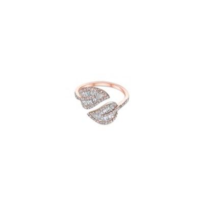 Rose Gold & Diamond Baguette Leaf Ring