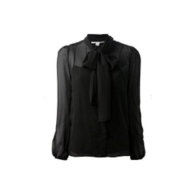 Black Pussy Tie Blouse