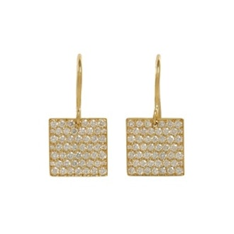 Gold & Diamond Square Earrings