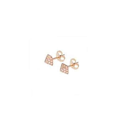 Rose Gold & Diamond Pyramid Studs