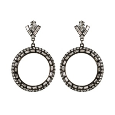 Gunmetal Circle Earrings