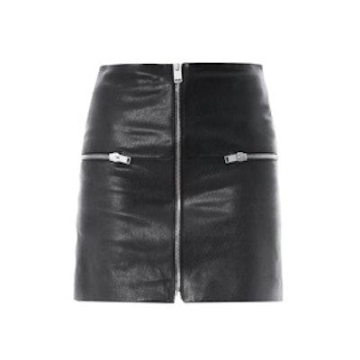 Zipped Leather Mini Skirt