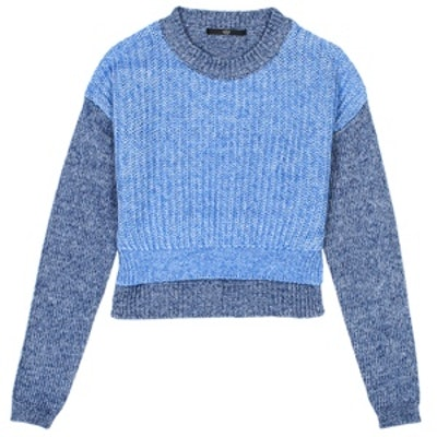 Blocked Denim Cropped Sweater