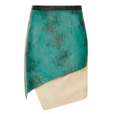 Contrast Leather Wrap Skirt