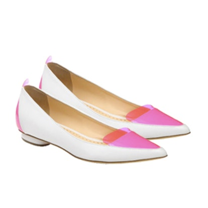 Leather Contrast Ballet Flats