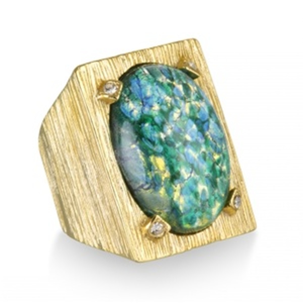 Green Opal Textured Cocktail Ring