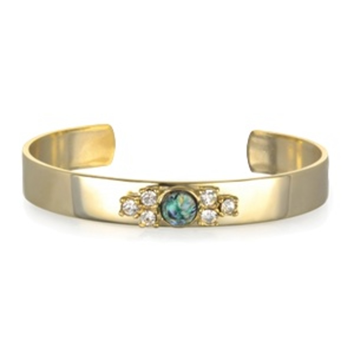 Green Opal And Crystal Cuff Bracelet