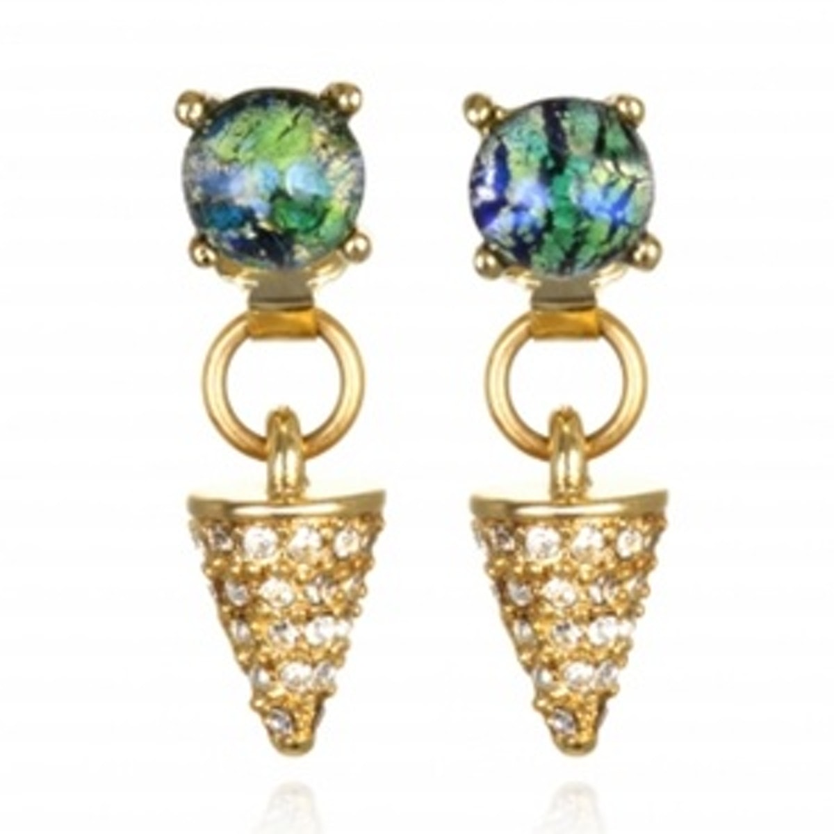 Green Opal And Crystal Spike Drop Earrings