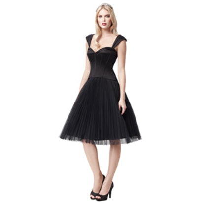 Truly Zac Posen Pleated Tulle Dress with Sweetheart Corset Bodice