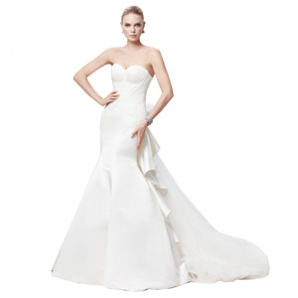 Truly Zac Posen Strapless Duchess Satin Fit and Flare Gown