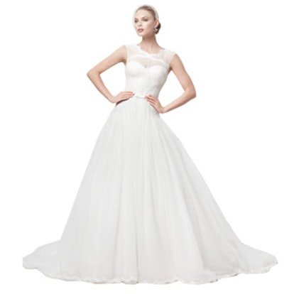 Truly Zac Posen Lace and Tulle Ballgown with Illusion Neckline