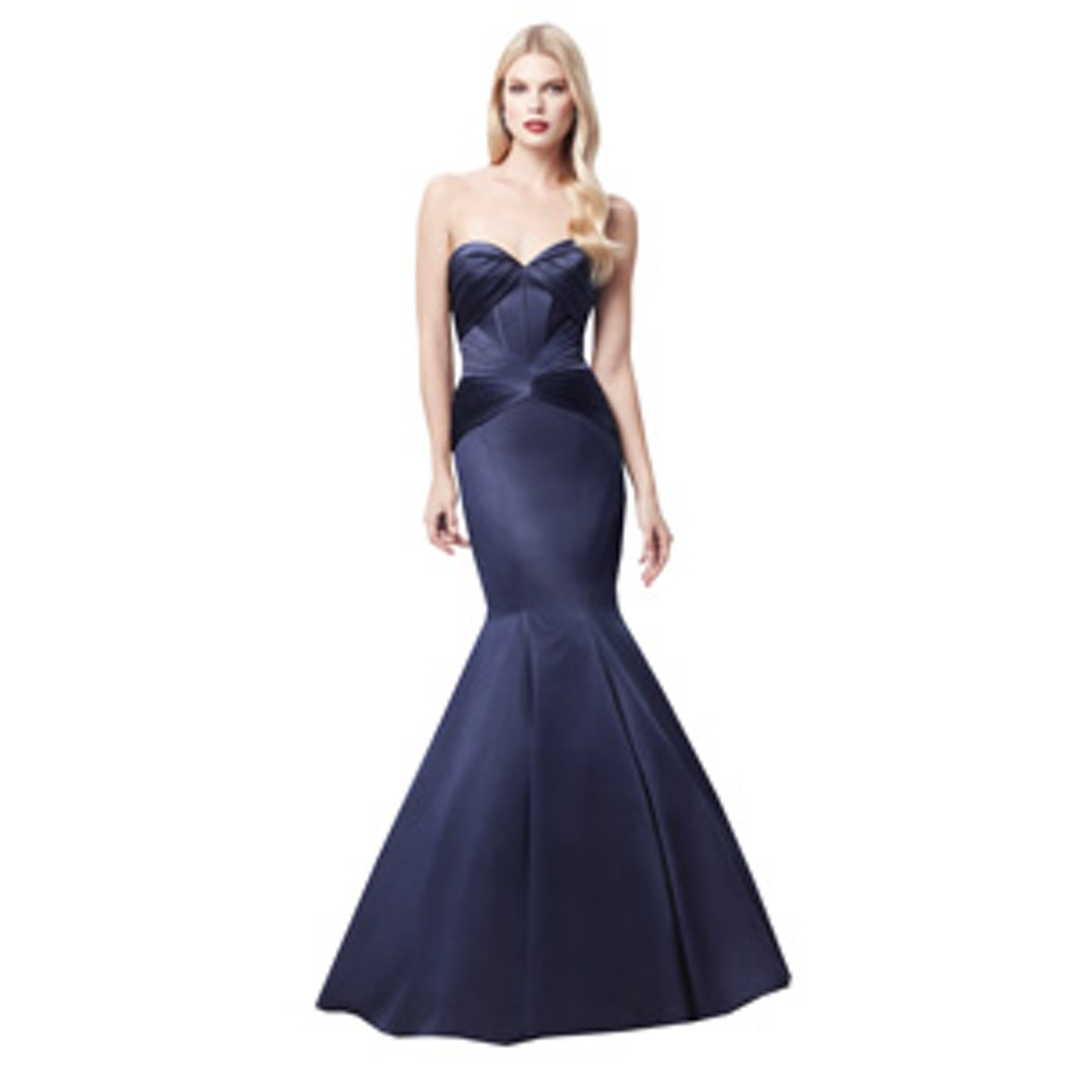 Truly Zac Posen Long Strapless Satin Fit and Flare Dress