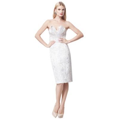 Truly Zac Posen Short Strapless Floral Jacquard Dress