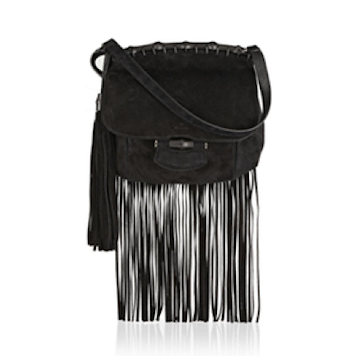 Fringed Suede Shoulder Bag