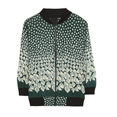 Letters Printed Georgette Bomber