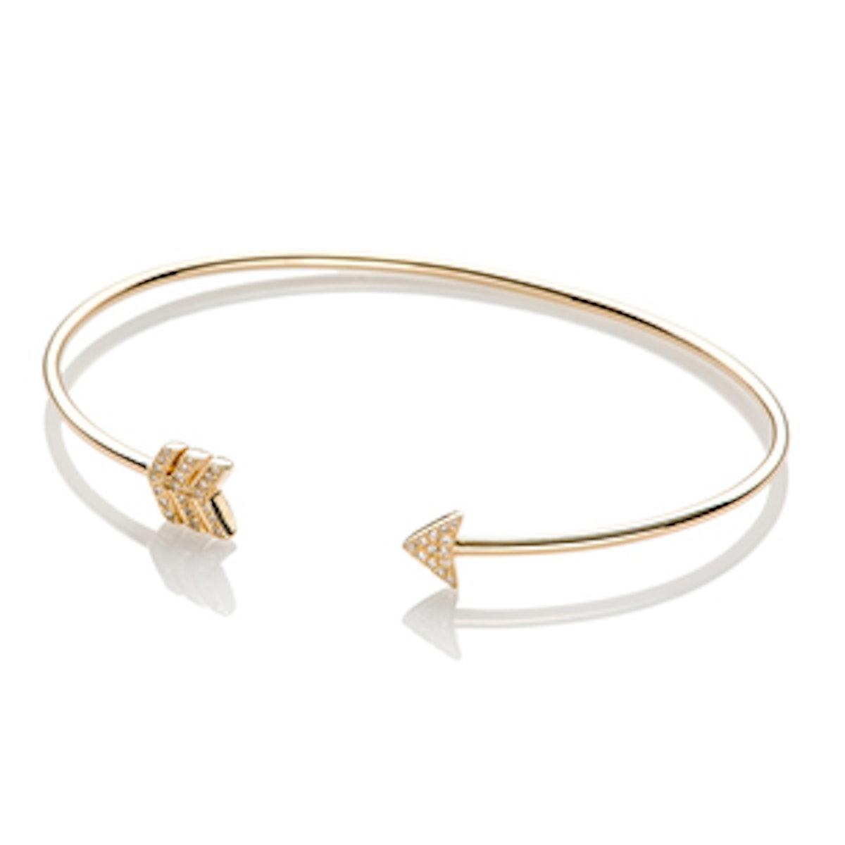 Gold & Diamond Arrow Bangle