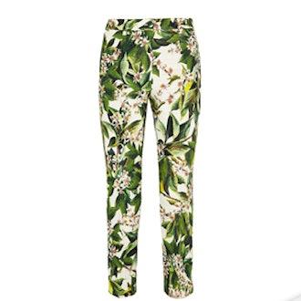 Floral Print Cotton Straight Leg Pants