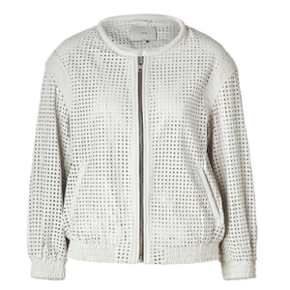 White Perforated Biker Jacket