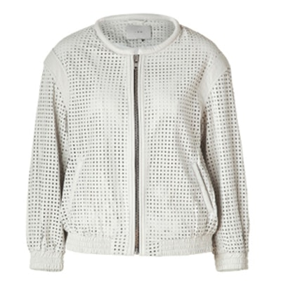 White Perforated Biker Jacket