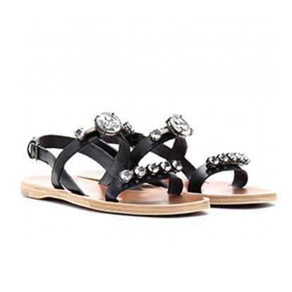 Crystal Faceted Leather Sandals