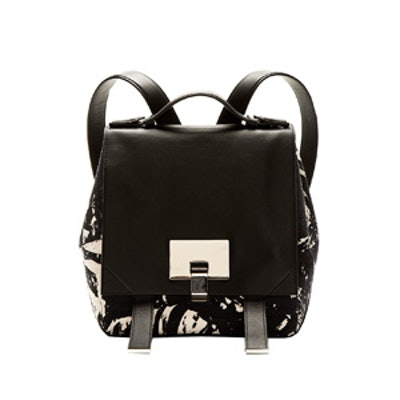 Black Marbled Canvas Backpack