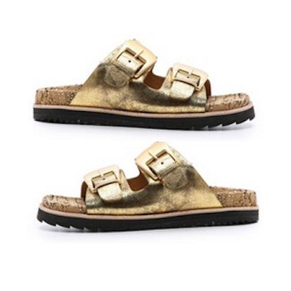 Fawn Flat Sandals in Golden