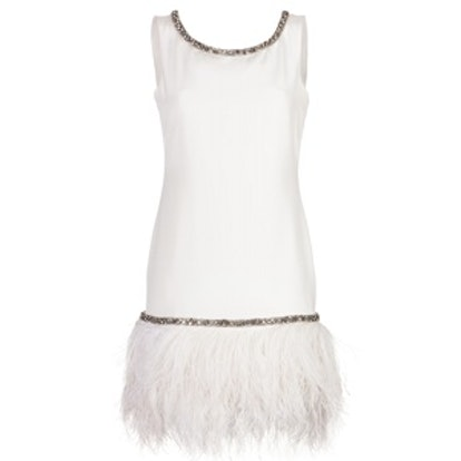 Cocktail Dress With Feather Trim