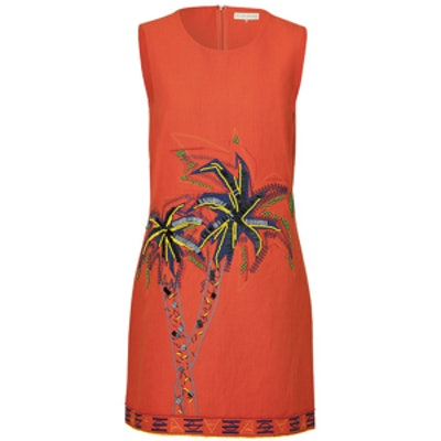 Palm Embroidered Dress