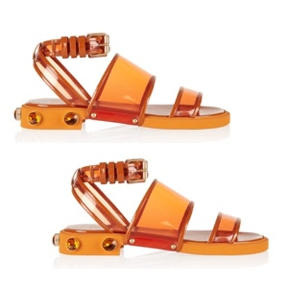 Orange Plastic and Leather Flat Sandals