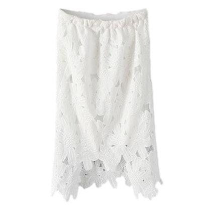 Lace Asymmetric White Skirt