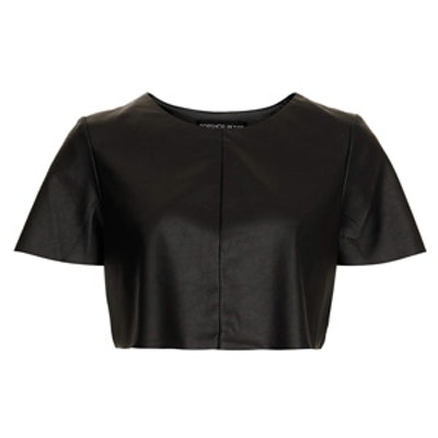 Leather Look Cropped Tee