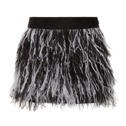 Feather-Trimmed Mini Skirt