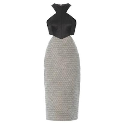 Satin and Tweed Cutout Dress