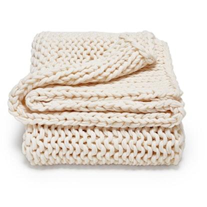 Lambswool Knit Throw Blanket
