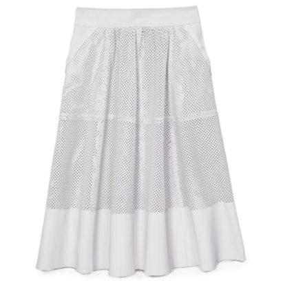 Bradford Perforated Leather Midi Skirt