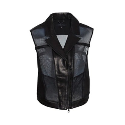 Leather Mesh Combo Vest