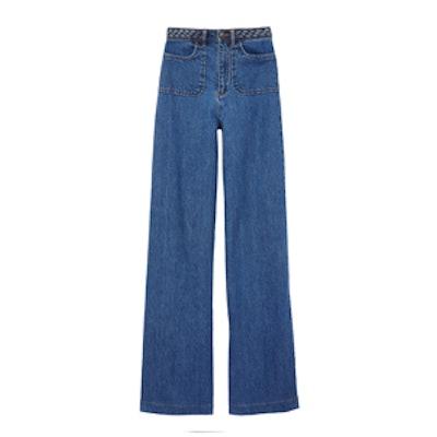 Ella Braided Wide-Leg Jeans