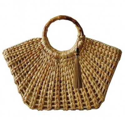 Straw Bamboo-Handle Tote
