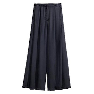 Wide-Leg Satin Pants