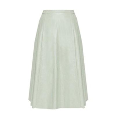 Leather Center Pleat Skirt