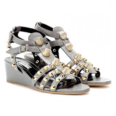 Studded Leather Wedge Sandal