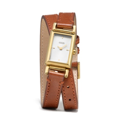 Madison Gold Plated Double Wrap Strap Watch