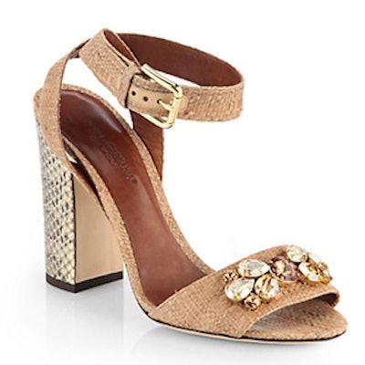 Jeweled Raffia And Snakeskin Sandal